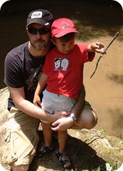 The boy and I, creekside