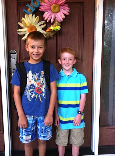 The boy and his buddy on the first day of school